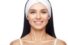 Linee del facial di massaggio Fotografia Stock Libera da Diritti