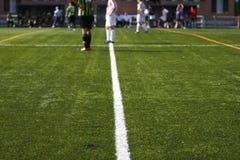 Linee del ` s del campo di calcio Fotografie Stock Libere da Diritti