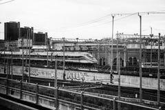 Linee del treno a Napoli Fotografie Stock