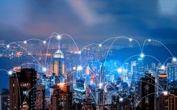 Linee della connessione di rete di Digital di Hong Kong Downtown e di Victo immagini stock libere da diritti