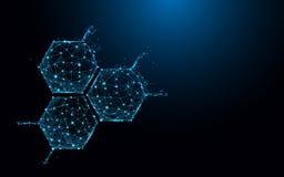 Linee della forma dell'icona della struttura della molecola e triangoli, rete di collegamento del punto su fondo blu illustrazione di stock