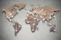 Linee della mappa e del collegamento di mondo Media sociali, rete fotografia stock