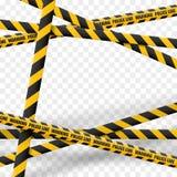 linee di cautela 3d isolate Nastri d'avvertimento realistici E Illustrazione di vettore isolata su fondo a quadretti Fotografia Stock