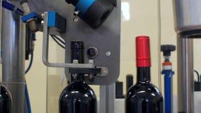 Linee di imbottigliamento automatiche dettaglio dell'attrezzatura del vino stock footage