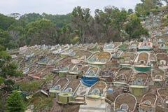 Linee di lapidi elaborate in un cimitero del Borneo Immagine Stock