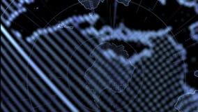 Linee di tecnologia intorno a terra Fondo scuro di affari per la presentazione stock footage
