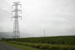 Linee di trasmissione ad alta tensione in pioggia nebbiosa fotografia stock