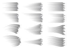 Linee di velocità isolate Effetto di moto Linee nere su fondo bianco illustrazione vettoriale