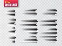Linee di velocità isolate Insieme dei segni di moto Vettore Fotografia Stock