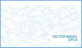 Linee di vettore di onde dell'oceano Fotografie Stock Libere da Diritti