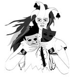 Linee di vettore Maschera della tenuta della ragazza illustrazione di stock