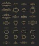 Linee di vimini e vecchi elementi della decorazione nel vettore Fotografia Stock