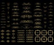 Linee di vimini e vecchi elementi della decorazione nel vettore Immagini Stock Libere da Diritti