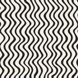 Linee disegnate a mano dell'ondulazione ondulata Progettazione geometrica astratta del fondo Vector il reticolo senza giunte Immagine Stock Libera da Diritti