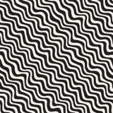 Linee disegnate a mano dell'ondulazione ondulata Progettazione geometrica astratta del fondo Vector il reticolo senza giunte Immagini Stock Libere da Diritti