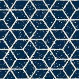 Linee distorte disegnate a mano modello di colore bianco senza cuciture della marina di vettore di lerciume di forma della stella Fotografia Stock Libera da Diritti