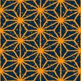 Linee distorte disegnate a mano modello di colore giallo senza cuciture della marina di vettore di lerciume di forma della stella Fotografie Stock