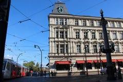 Linee ed architettura del tram a Praga Immagine Stock Libera da Diritti