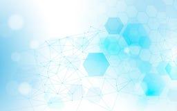 Linee ed esagoni astratti dei collegamenti con scienza, fondo di concetto di tecnologia illustrazione di stock