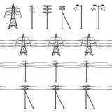 Linee elettriche ad alta tensione Immagine Stock Libera da Diritti