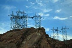 Linee elettriche della diga di Hoover immagine stock