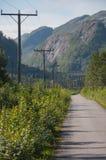 Linee elettriche lungo la strada della montagna Immagini Stock Libere da Diritti