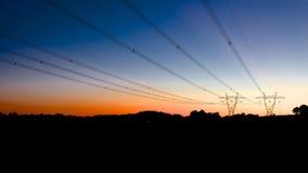 Linee elettriche sulle colline Fotografia Stock Libera da Diritti