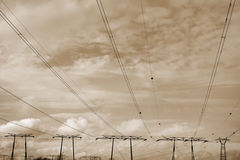 Linee elettriche tristi Fotografie Stock Libere da Diritti