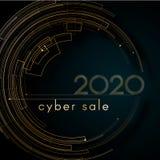 Linee futuristiche 2020 del cerchio dell'oro di lusso cyber di vendita sulle carte eleganti di lusso del fondo di un elemento cre royalty illustrazione gratis