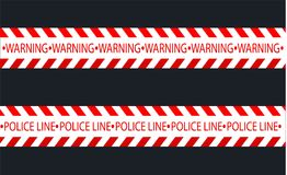 Linee isolate di isolamento Nastri d'avvertimento realistici Segni del pericolo Illustrazione di vettore, isolata su un cellulare illustrazione vettoriale