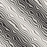 Linee ondulate diagonali disegnate a mano in bianco e nero senza cuciture modello di vettore Progettazione a mano libera astratta Immagine Stock Libera da Diritti