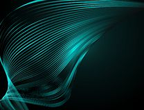 Linee ondulate luminose dell'estratto su una progettazione futuristica dell'illustrazione di tecnologia del fondo blu scuro il mo illustrazione di stock