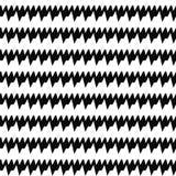 Linee orizzontali senza cuciture modello degli spigoli Bande dentellate nere ripetute su fondo bianco Motivo di zigzag Immagine Stock