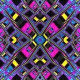 Linee psichedeliche Priorità bassa astratta geometrica Illustrazione di vettore Effetto di lerciume Immagini Stock Libere da Diritti