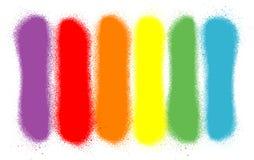 Linee spruzzate graffiti in sei colori dell'arcobaleno Fotografia Stock Libera da Diritti