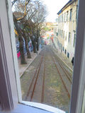 Linee tranviarie per Lisbona Fenicular Gloria Fotografie Stock