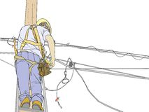 Lineman 1423. A cable repairman working up on a power pole Royalty Free Stock Image