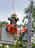 Lineman Repairs Electricity Distribution Lines Stock Photo