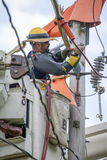 Lineman Repairs Electricity Distribution Lines Stock Photos