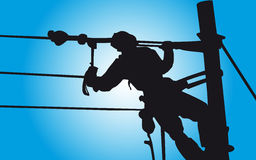 Lineman working Stock Photo
