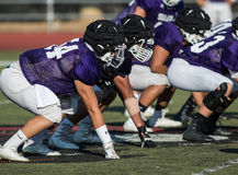 The Linemen. High school football action with Shasta vs. Foothill High School in Palo Cedro, California Royalty Free Stock Images