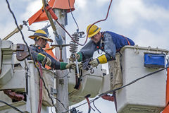Linemen Repairs Electricity Distribution Lines Stock Image