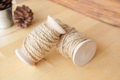 Linen пеньковая веревка, с мягким светом окна Стоковая Фотография