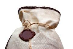 Linen сумка на белизне Стоковое фото RF