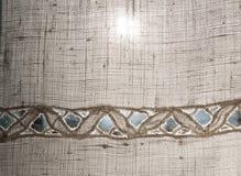 Linen ткань с вышивкой Стоковая Фотография RF