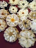 Linen  fabric flowers Stock Image