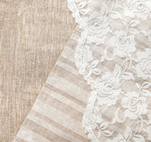 Linen background. Light natural linen background with lace Royalty Free Stock Photo