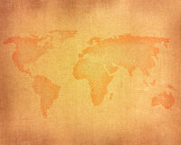 Linen background with map Stock Photos