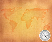 Linen background with map Stock Photography