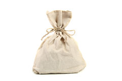 Linen bag. Isolated on white stock photo